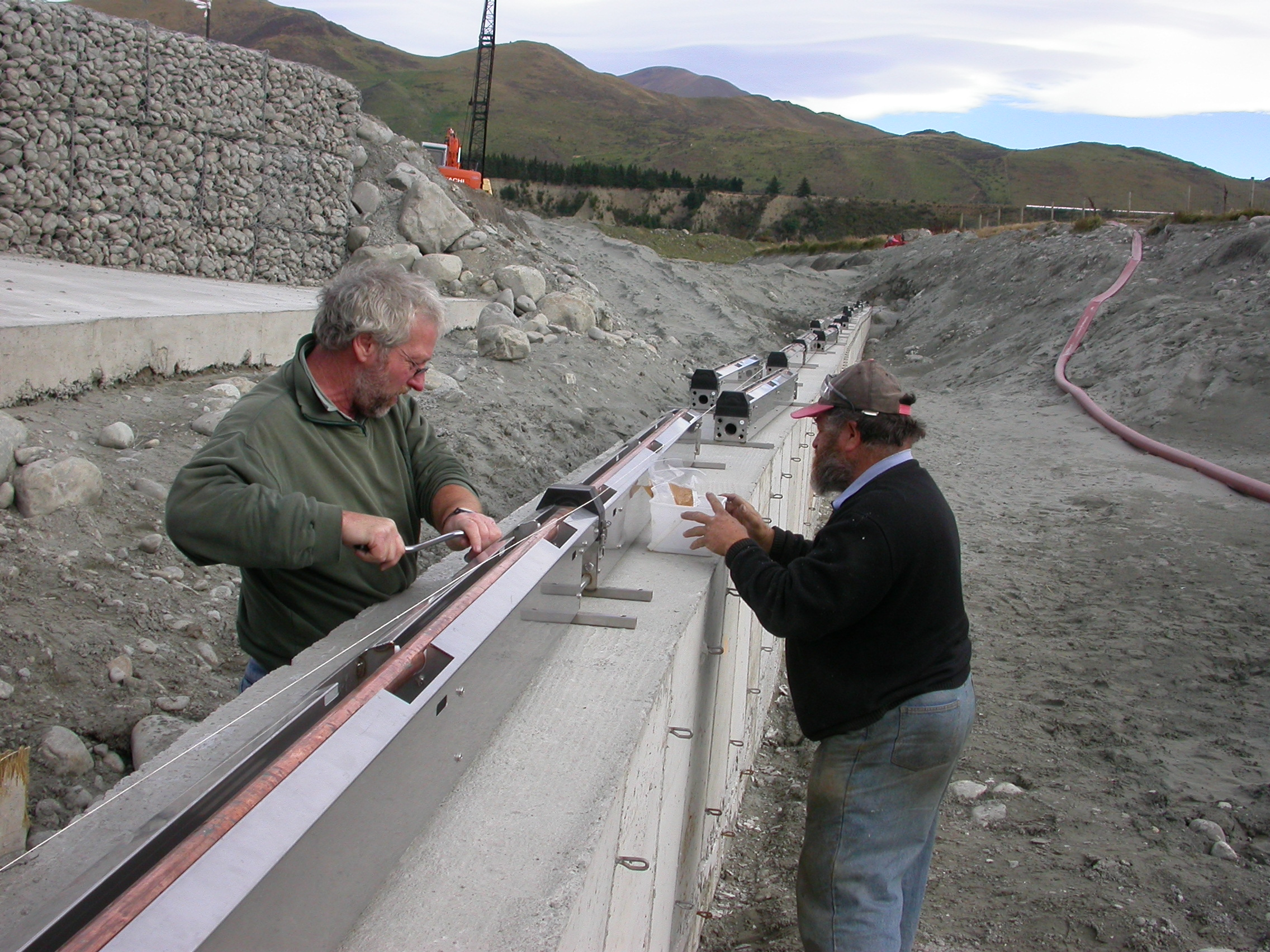 Former Rangitata Diversion Race Company Manager, the late John Young (left) and RDR operations manager, Neil Stevens